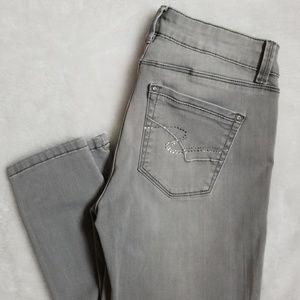 WHBM Grey Embellished Skinny Jeans OR